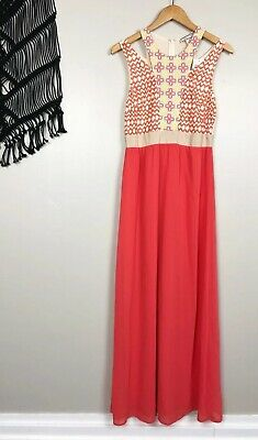 3de084660da NEW Altar d State Flying Tomato Embroidered Cutout Coral Maxi Dress Size  Medium