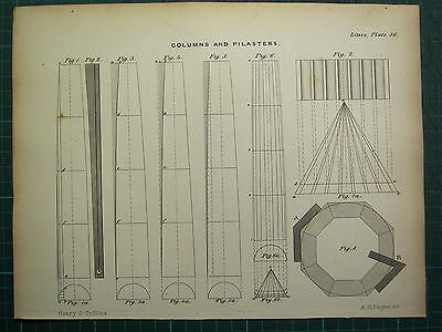 1858 Carpentary Joinery Architecture Print ~ Columns & Pilasters Sectional