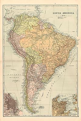 1908 Large Victorian Map ~ South America Argentina Brazil Chile Buenos Aires Rio