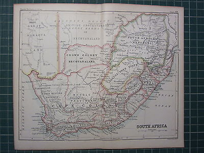 1887 Antique Map ~ South Africa Cape Colony Cape Town Orange Free State Natal