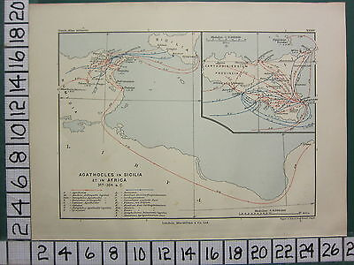 Historical Map Battle Plan + Text ~ Agathocles In Sicily & Africa 317 - 304 Bc