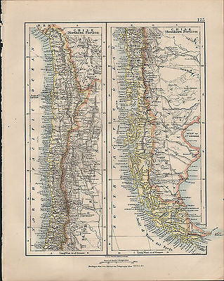 1914 Map ~ South America ~ Chile Northern & Southern Sections