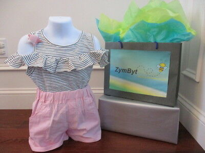 Girls Top and Shorts 3 PC Set Trendy Striped Top and Pink Shorts Size 5