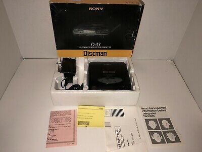 Vintage 1991 Sony Discman D-33 Portable CD Player Mega Bass Original Box Tested