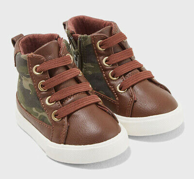 Gymboree Toddler Little Boy Zip UP High Top Shoes Camo & Brown NWT!
