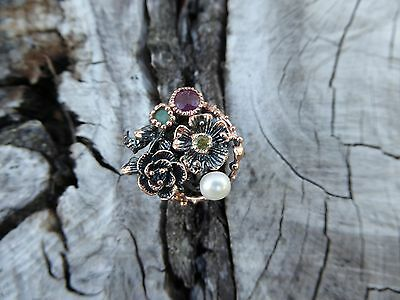 Handcrafted Ruby Floral Multi Sterling Silver Branch Twig Ring Size 8 Boho Indie