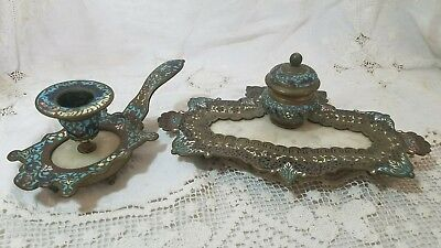 Antique Champleve French Inkwell Ink Pot Candle Holder Bronze Enamel Cloisonne