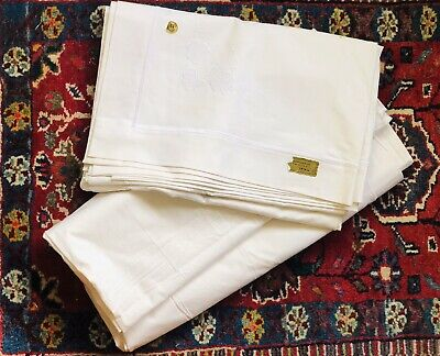Pair Antique Vintage Heavy Handmade Glory Box Linen Embroidery Bed Sheets