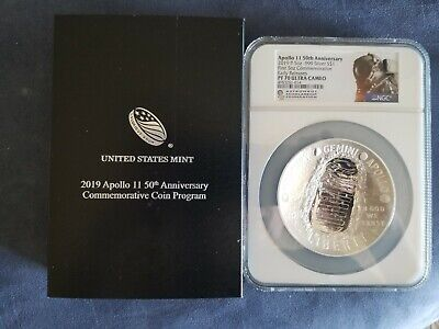2019 P Ngc Pf70 Fr Proof 5 Oz Silver $1 Apollo 11 50Th Ann. Early Releases Asf