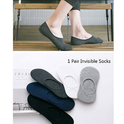1 Pair Men's Non-slip Models Solid Color Casual Cotton invisible Low Help Sock