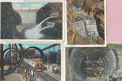 "Lot of 4 Ca 1934 ""Boulder Dam"" in Nevada  Souvenir Travel PicturePostcards - 613"