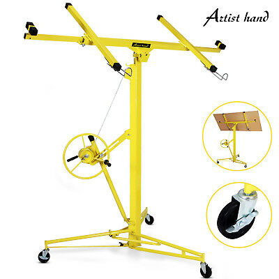 16'-19' Drywall Panel Lifter Hoist Jack Rolling Caster Lockable DIY Tool Yellow