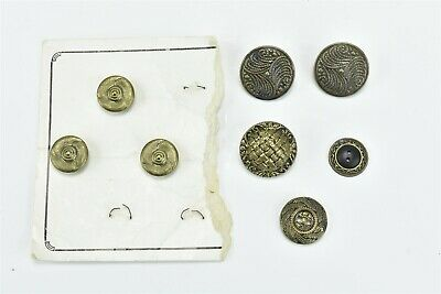 """Antique MIXED LOT of 8 VICTORIAN BUTTONS 19/32"""" - 15/16"""" FANCY BRASS STYLE 06848"""