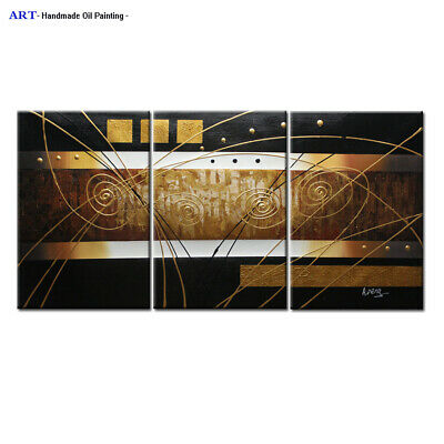 Large Abstract Gold Oil Painting On Canvas Modern Wall Home Deco Art Framed A309