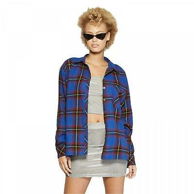 94b8656e NWT Wild Fable Women's Plaid Oversized Long Sleeve Button-Down Flannel Shirt  Top