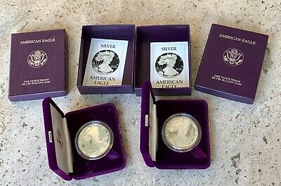 2 X 1986 Proof American Silver Eagle 1 Ounce Bullion Coins W/Boxes & COA