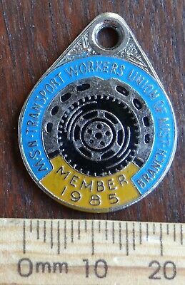 1 x 1985 NSW TRANSPORT WORKERS UNION MEMBERSHIP BADGE No 3870