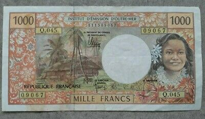 FRENCH PACIFIC TERRITORIES 1000 francs.