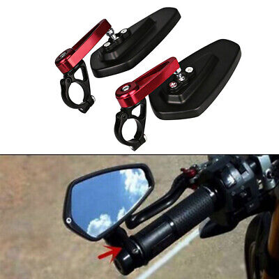 "Red&Black 7/8"" 22mm Motorcycle Motorbike Alloy Bar End Side Rearview Mirrors UK"