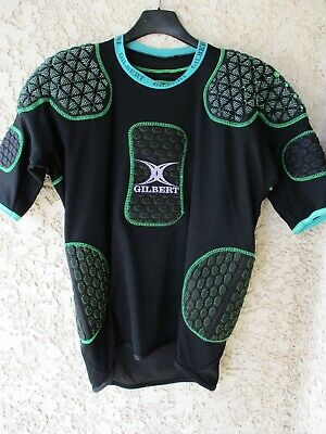 Maillot Protection rugby GILBERT noir vert IRB approved L