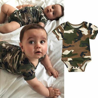 AU Infant Baby Boy Girls Camo Short Sleeve Romper Jumpsuit Bodysuit Clothes 0-2T