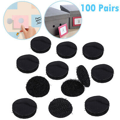 100 Pairs Mini Self Adhesive Sticky Back Hook & Loop Fastening Dots Dia 20mm DIY