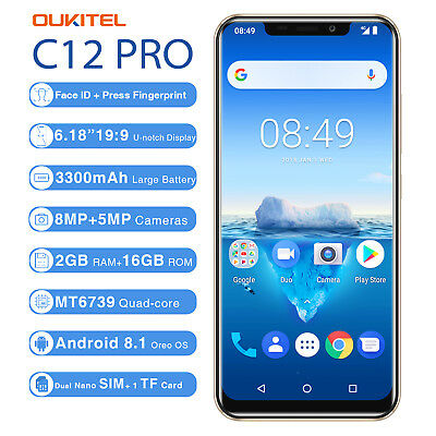 """19:9 6.18"""" Oukitel C12 Pro Android 8.1 2+16GB 4G Smartphone Móvil TOUCH+FACE ID"""