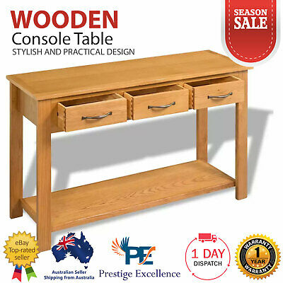 Wooden Large Console Table Hallway Entry Side Storage with 3 Drawers 1 Shelf NEW