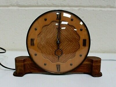 Vintage SMITHS SECTRIC Art Deco Wood Electric Mantel Table Clock  - 250