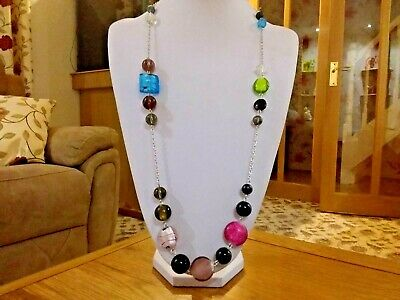 Brand new very long silver chain necklace with large glass stones