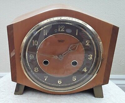 Smith's Enfield vintage wind-up mantle clock with pendulum and key, parts/repair