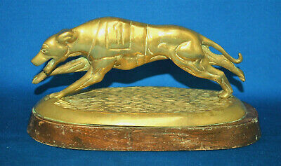 A lovely antique or vintage racing greyhound dog figure on wooden base