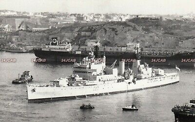 "Original Photograph Royal Navy. HMS ""Tiger"" Cruiser. At Malta. Fine! 1965"