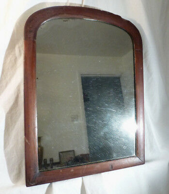 Antique Chunky Arched Mahogany Wood Wall Mirror Heavy with Silvered Glass 17""
