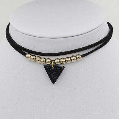 Female Double Layer Necklace Triangle Stone Pendant Choker Neck Chain Jewelry FY