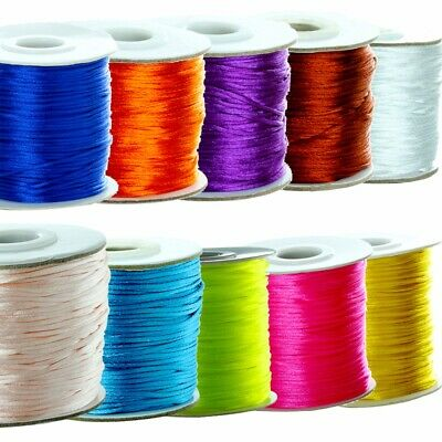 Wholesale 80yards 1.5mm Satin Rattail Silk Nylon Bead Cord DIY Jewelry Findings