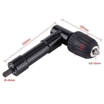 Right Angle Drill Attachment 8mm Shaft 90° Chuck Key Electric Drill Tool BE