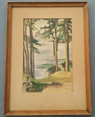 Vintage 1950's Original & Signed F L Greenson Scenic Waterfront Art Painting