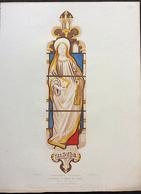 c1844 Winchester Cathedral Stained Glass, St SITHA, Carter Le Keux, original col