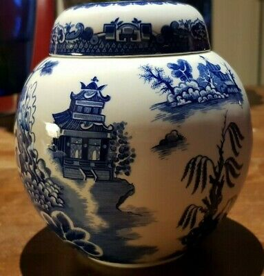 """Vintage Burgess & Leigh Blue Willow Staffordshire Ginger Jar Made for Twining 5"""""""