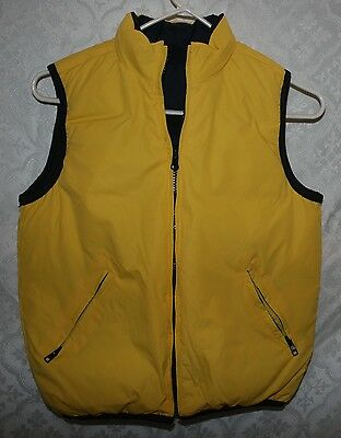 Old Navy Reversible Puffy Puffer Vest Sz 7 Youth Kids Unisex Down Yellow Black