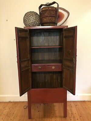 Original Antique Red Chinese Wedding Cabinet - excellent condition