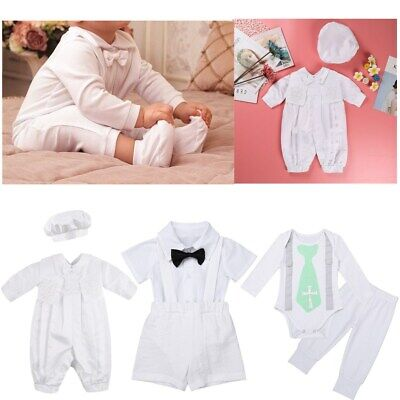 Newborn Baby Boy Baptism Christening Outfits Romper Birthday Formal Suit Clothes