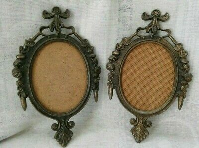 Antique couple of brass frames oval pictures rare