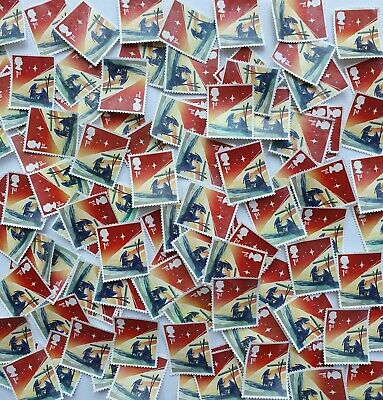 50 unfranked Christmas 1st class stamps, off paper, no gum, excellent condition