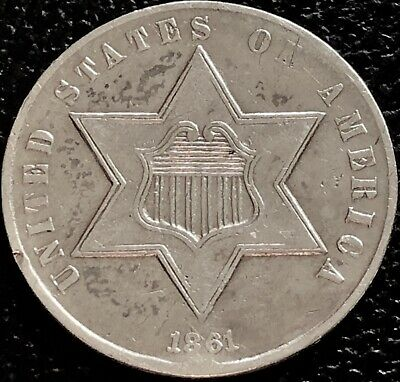 1861 Three Cent Piece Silver Trime 3c Higher Grade 180° Rotated Dies  #15501