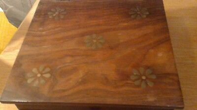 Antique Hardwood Slope Writing Desk With Very Rare Brass Inlay