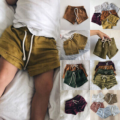 Baby Toddler Boys Girls Cotton & linen Shorts PP Kids Harem Pants Short Trousers