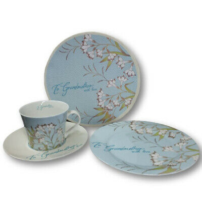 French Country Chic Kitchen Tea Cup, Saucer and Plate Set GRANDMOTHER New