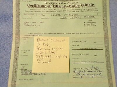 1969 Dodge Charger  Historical Paperwork Document Hot Rat Rod RARE Barn